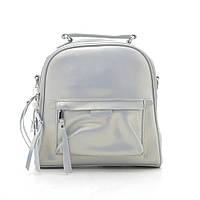 Рюкзак-сумка из натуральной кожи жемчужно-серебристого цвета