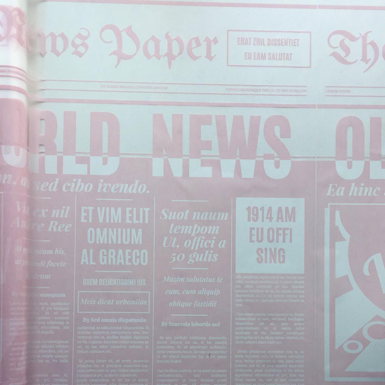 Тонированная пленка матовая (калька) Газета бледно-розовая 70см х 10м