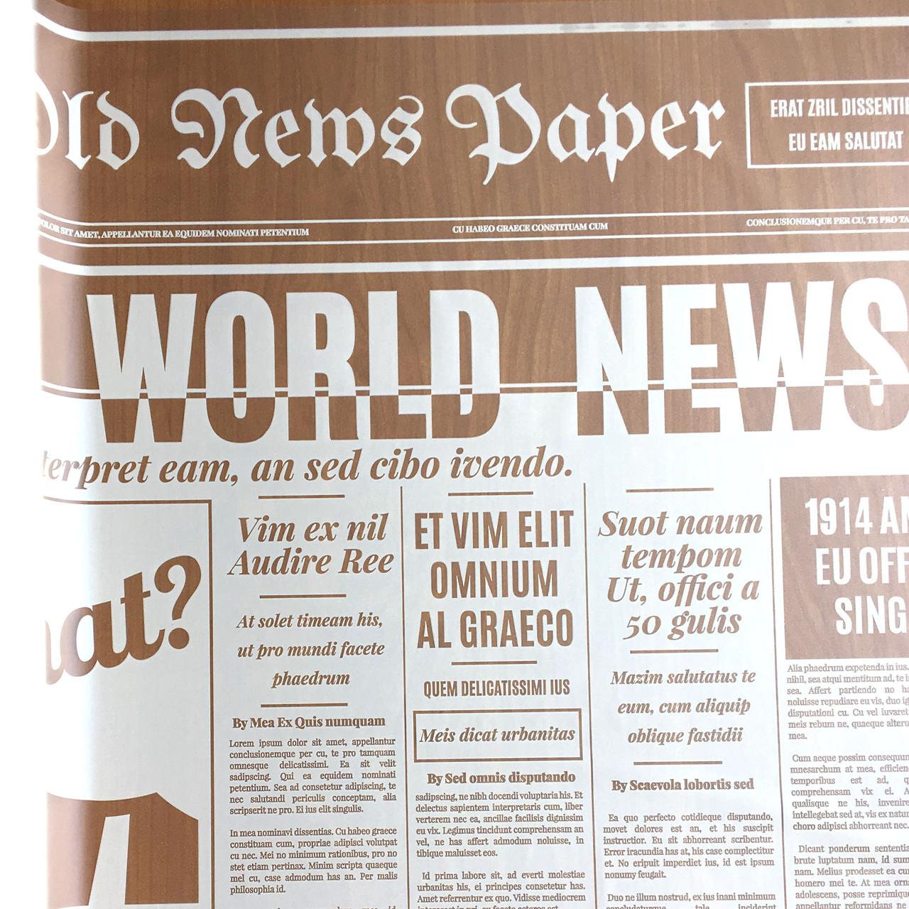 Тонована матова плівка (калька) Газета бежева 70см х 10м