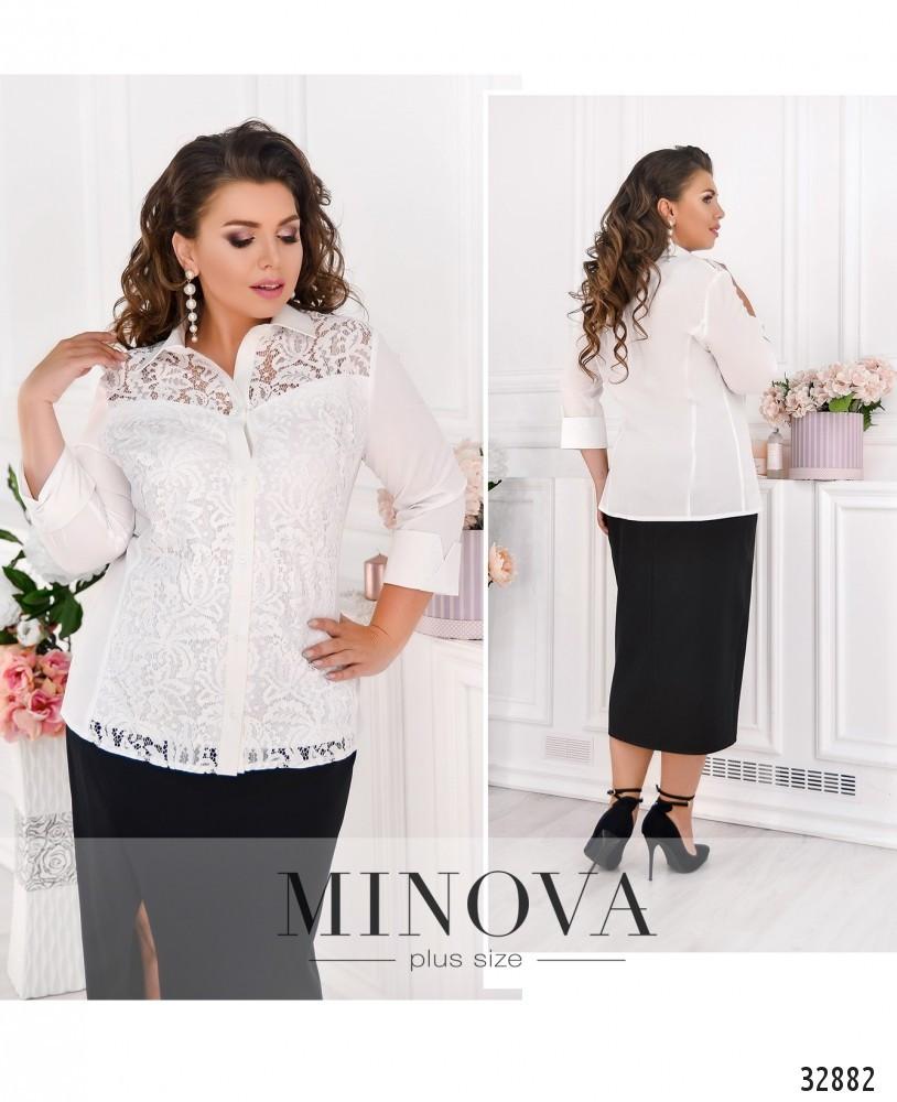 Красивая женская рубашка в деловом стиле с 48 по 62 размер