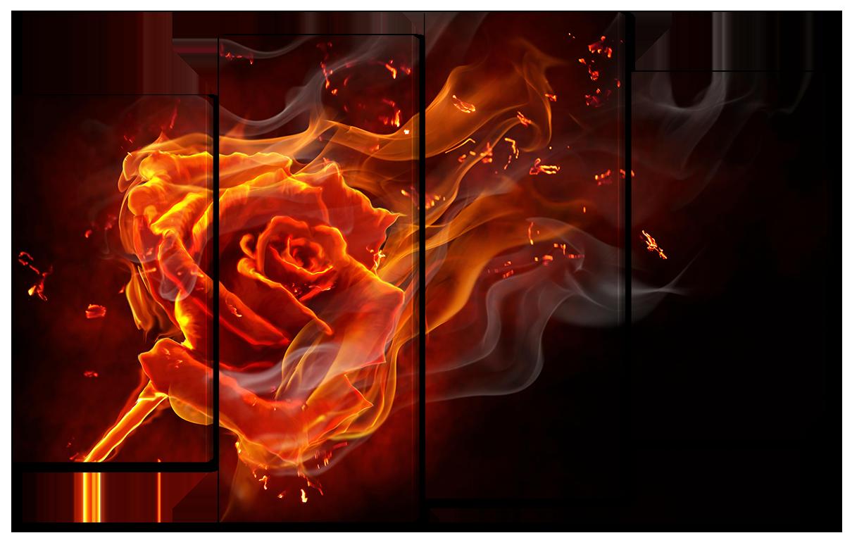 Модульная картина Interno Эко кожа Пылающая роза 166x120см (A1652XXL)