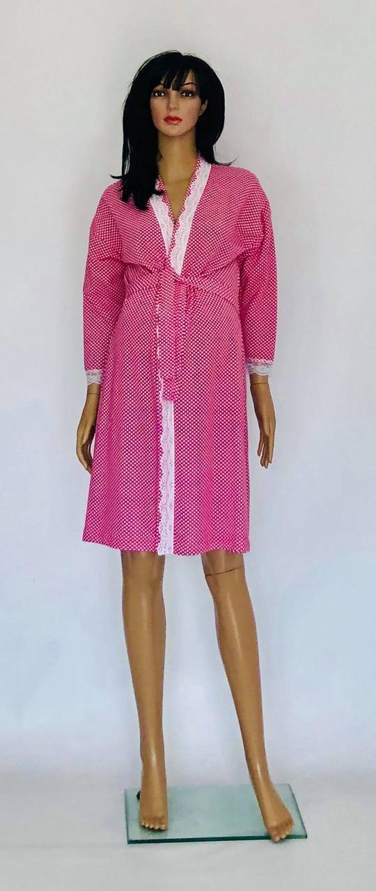 Теплый трикотажный халат для беременных и кормящих мам