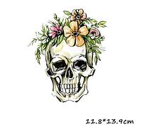 Термонаклейка Череп с цветами 1 шт,  наклейка на ткань