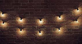 Ретро гирлянда 30 метров 61 лампочка, защита от воды IP-33 + монтажный трос в подарок (2 лампы на 1 метр)