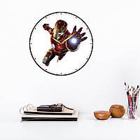 Железный человек Часы для детей Айрон Мен часы настенные Iron Man часы с виниловой наклейкой Кварцовые часы
