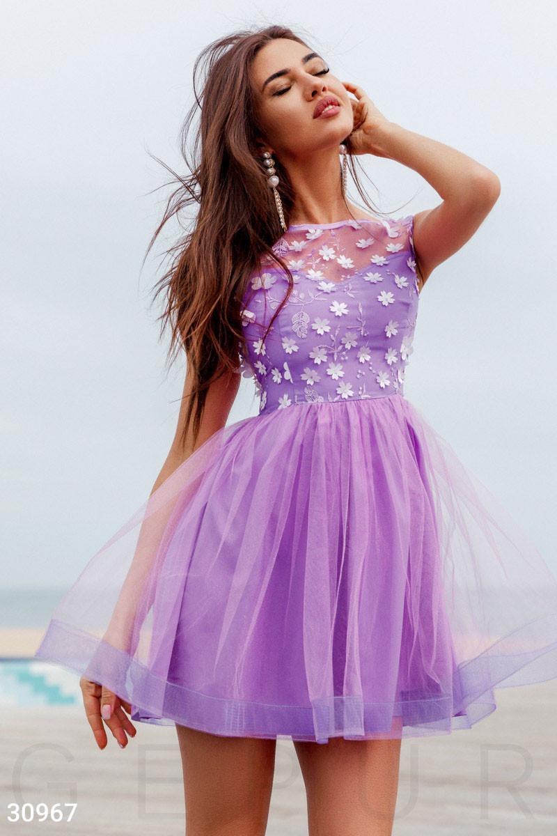 Вечернее платья мини с цветочным декором цвет лавандовый
