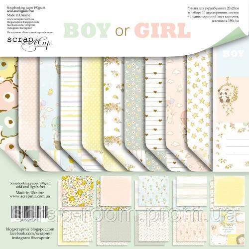 Набор двусторонней бумаги 20х20см от Scrapmir Boy or Girl 11шт