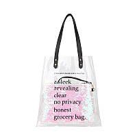 Прозрачная сумка с блестящей косметичкой и надписью розовая опт, фото 1