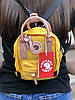 Сумочка-рюкзак городская компактная на 2 литра Acne Studio x Fjällräven Kånken clutch, цвет желтый