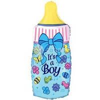 Фольгированный шар  Бутылочка Это мальчик 88см x 43см Голубой