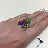 Солнечный кварц радужный кольцо с натуральным радужным кварцем в серебре 17,5-18 размер Индия, фото 4