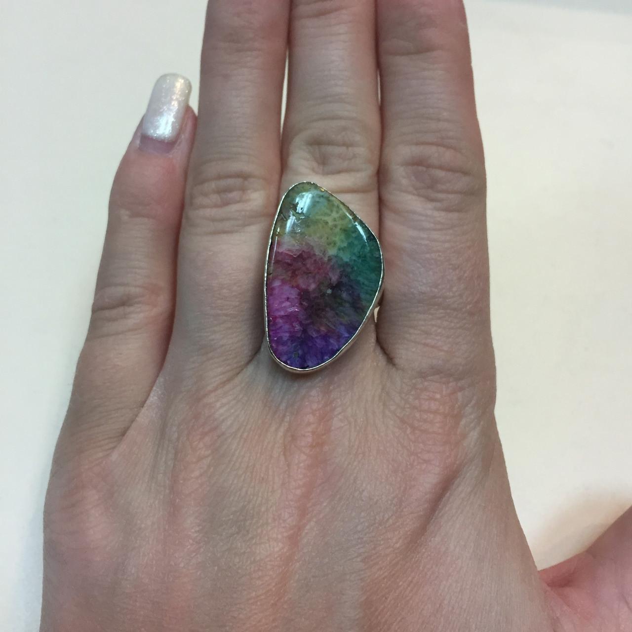 Солнечный кварц радужный кольцо с натуральным радужным кварцем в серебре 17,5-18 размер Индия