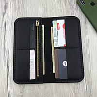 Кожаный мужской кошелек портмоне из натуральной кожи ручной работы Revier черный для денег и телефона