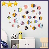 Интерьерные наклейки на стену Рыбки PVC 30 штук (6110)