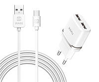 Адаптер-вилка на два порта с USB кабелем со штекером Type-C для зарядки телефонов и других устройств