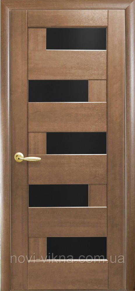Межкомнатное полотно Пиана золотая ольха 900 мм со стеклом BLK (черное).