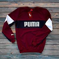 Свитшот мужской качественный / Кофта трикотажная в стиле Puma бордо