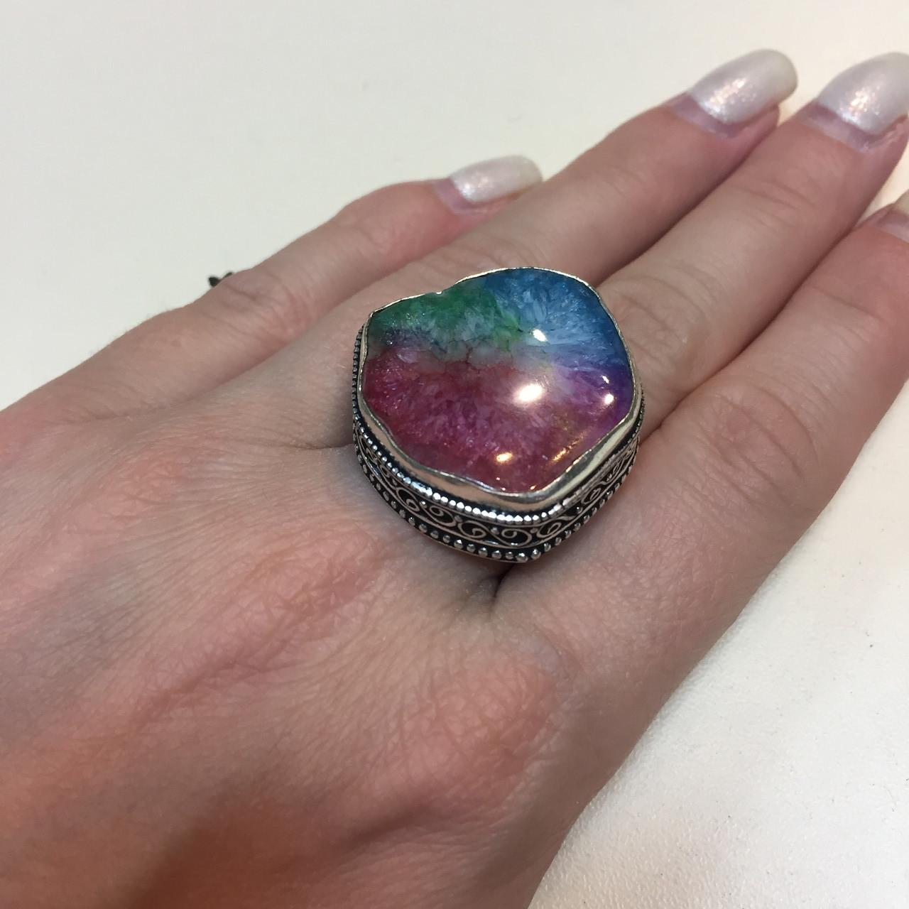 Солнечный кварц радужный кольцо с натуральным радужным кварцем в серебре 18-18,5 размер Индия