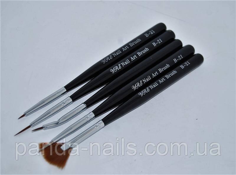 Набор кистей 5шт китайской росписи (черная ручка) В-21
