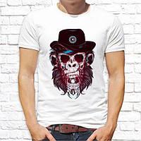 Мужская футболка с принтом Обезьяна в шляпе M, Белый Push IT