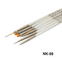 Набор кистей 6шт для рисования (белая ручка) NK-09/B-37