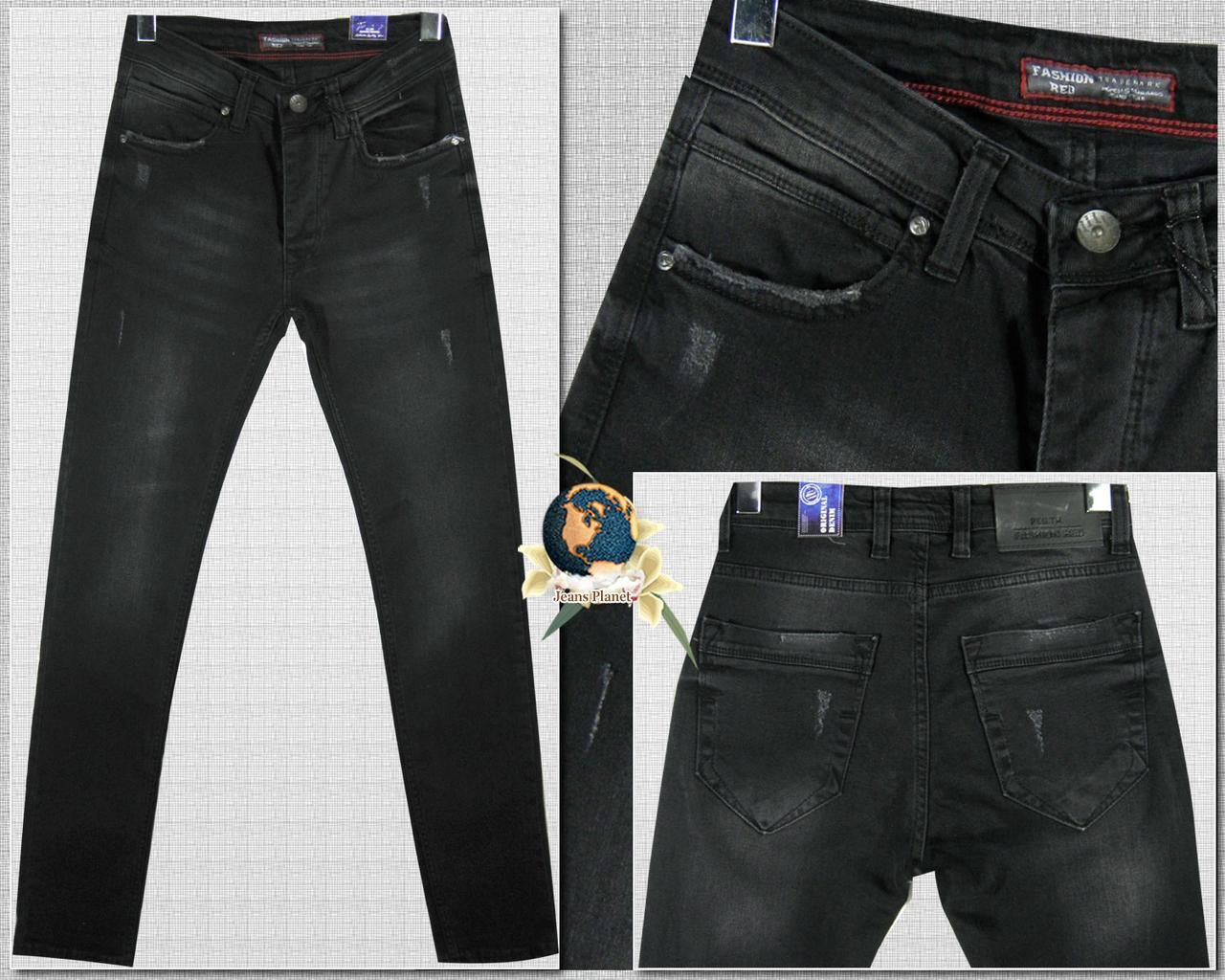 Джинсы мужские зауженные чёрного цвета с небольшими потёртостями