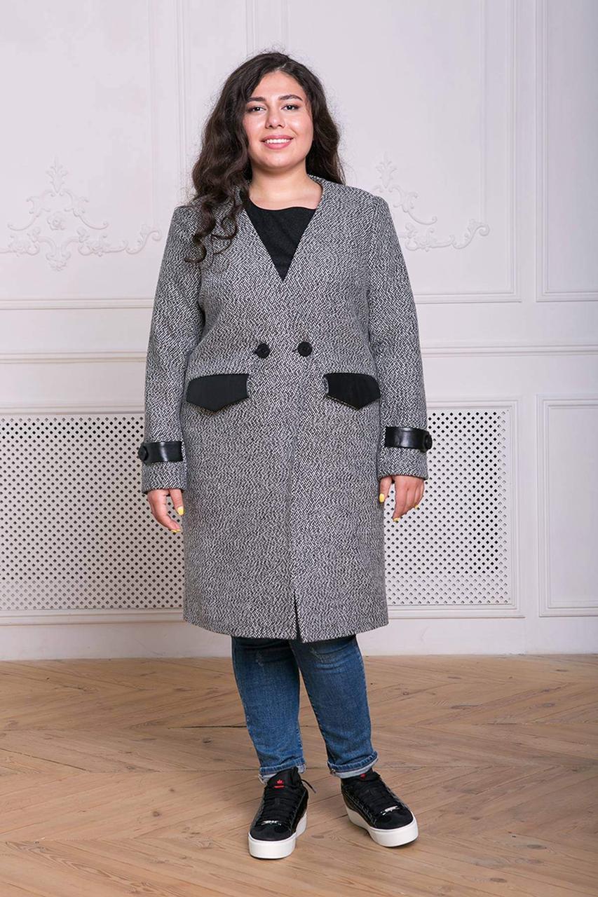 / Размер 54,56.58,60 / Женское прямое двубортное пальто без воротника Грейс / цвет темно-серый
