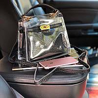 Прозрачная силиконовая сумка с косметичкой в классичеком стиле, Тренд 2019 года! Черный