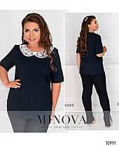 Нарядная женская  блуза с кружевным воротничком и брошкой  с 50 по 60 размер, фото 2