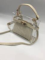 Прозрачная силиконовая сумка с косметичкой в классичеком стиле, Тренд 2019 года! Молочный