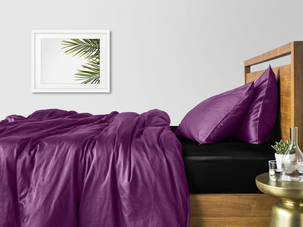 Комплект семейного постельного белья сатин VIOLET BLACK-S