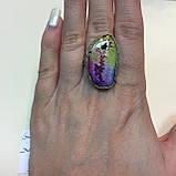 Солнечный кварц радужный кольцо с натуральным радужным кварцем в серебре 18-18,4 размер Индия, фото 5
