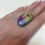 Солнечный кварц радужный кольцо с натуральным радужным кварцем в серебре 18-18,4 размер Индия, фото 3