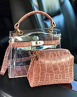 Прозрачная силиконовая сумка с косметичкой WeLassie. Грязно-розовый, фото 1