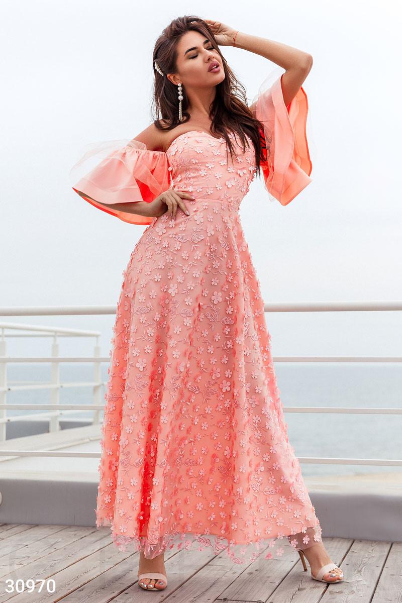 Платье макси с фигурным вырезом цвет персиковый