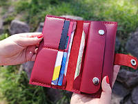 Женский красный кожаный кошелек из натуральной кожи ручной работы Revier, фото 1