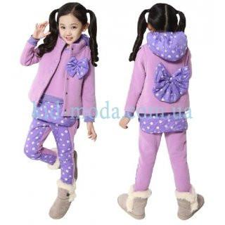 Комплект с бантиком для девочки (худи, жилетка, штаны)