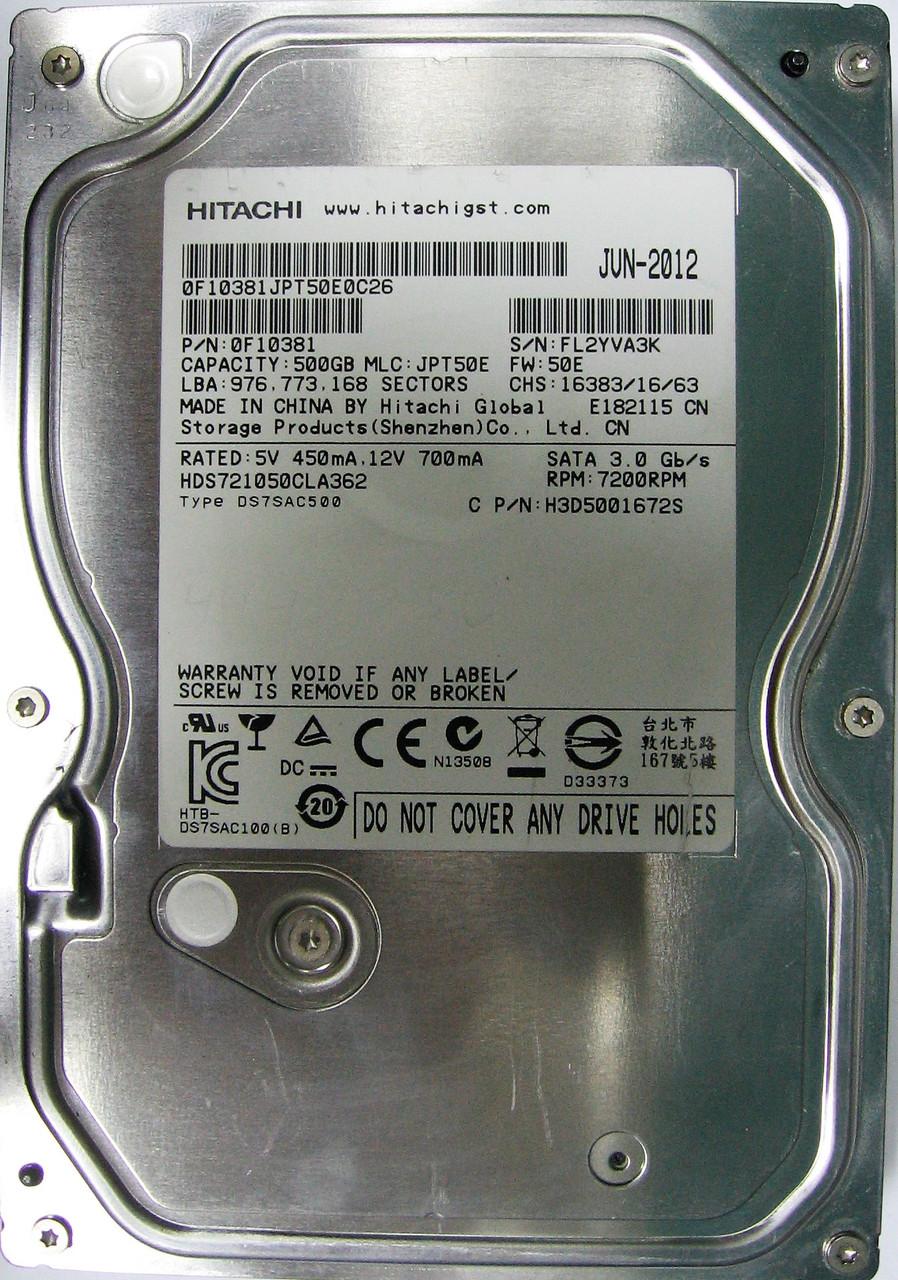HDD 500GB 7200rpm 16MB SATA II 3.5 Hitachi HDS721050CLA362 FL2YVA3K