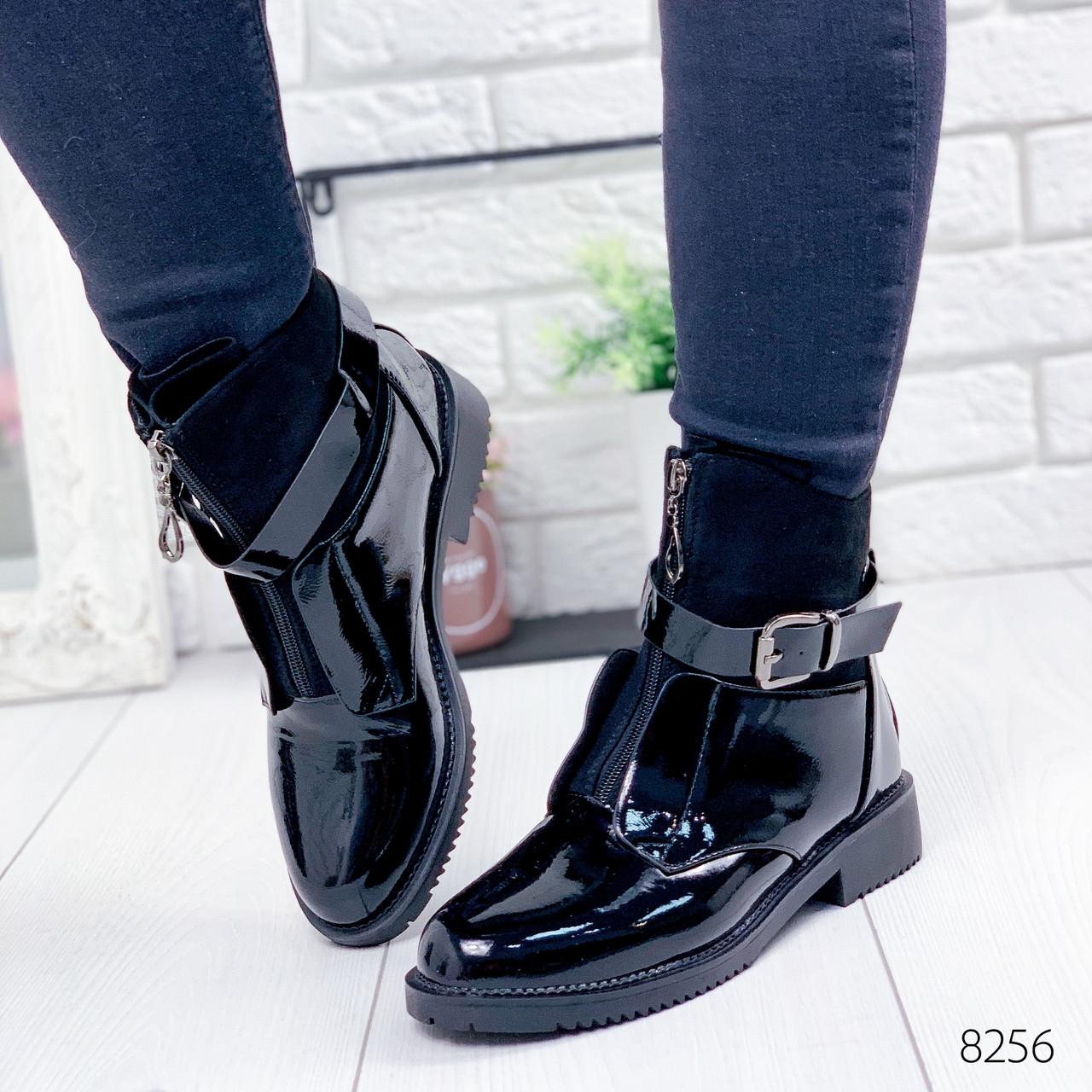 Ботинки женские Annie демисезонные черные эко - лак + эко - замша ))