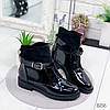 Ботинки женские Annie демисезонные черные эко - лак + эко - замша )), фото 8