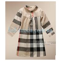 Платье Burberry в клетку с длинным рукавом