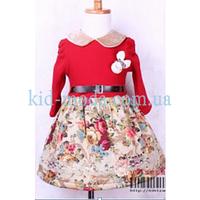 Платье с цветочным принтом и круглым воротничком