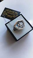 Серебряный перстень с золотыми напайками Георгий Победоносец-Хранитель, фото 1