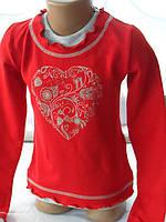 """Детская кофта с длинным рукавом для девочек """"Сердце"""" Красная"""