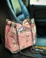 Прозрачная силиконовая сумка с косметичкой и нежной вышивкой Розовый