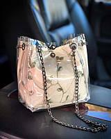 Прозрачная силиконовая сумка с косметичкой и нежной вышивкой Белый, фото 1