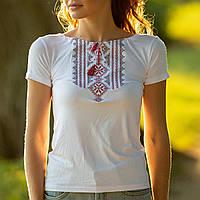 Женская вышитая футболка белая с красным орнаментом