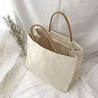 Тканевая сумка-шоппер кремового цвета опт, фото 1