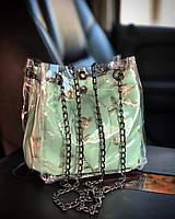 Прозрачная силиконовая сумка с косметичкой и нежной вышивкой WeLassie Бирюзовый