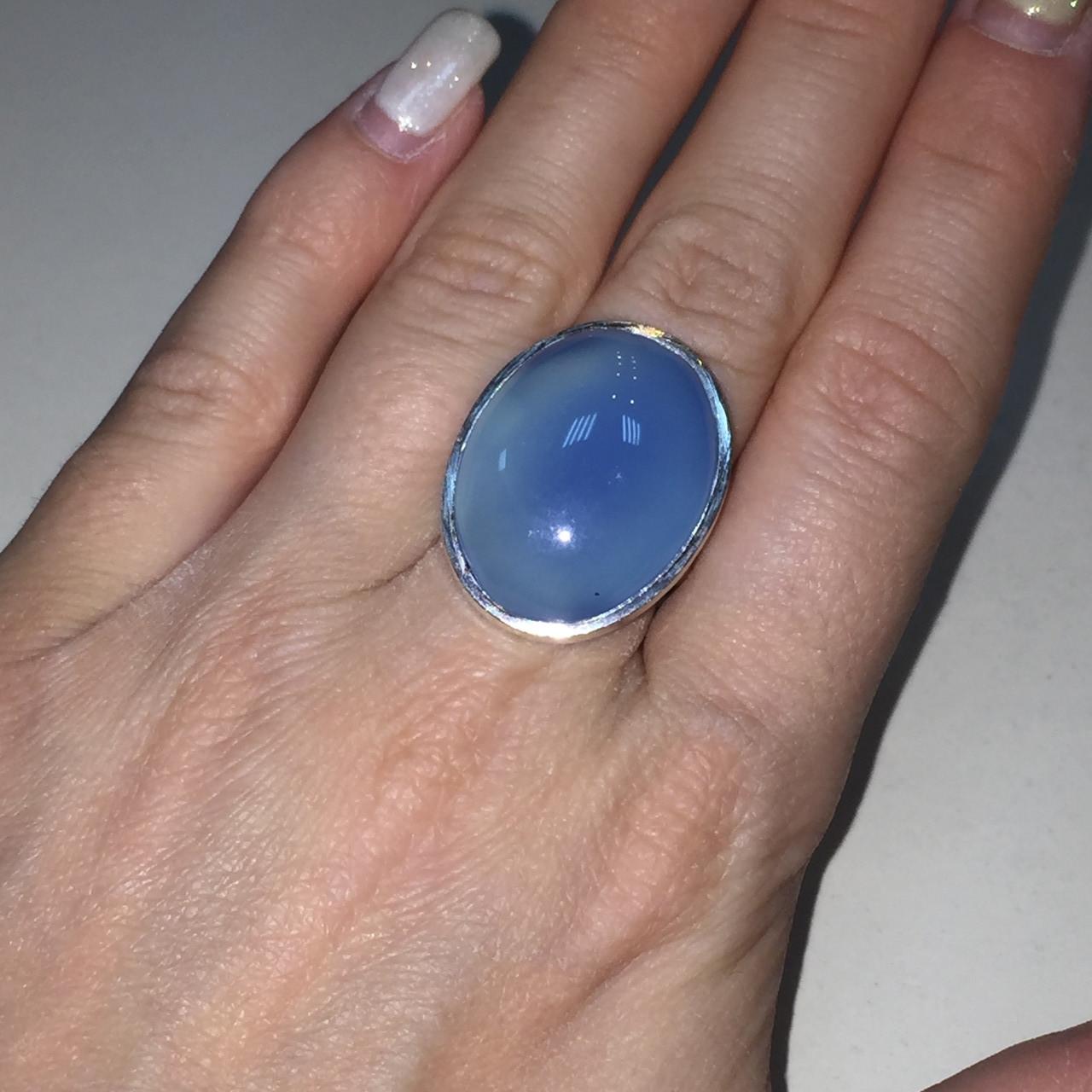 Кольцо овал халцедон в серебре. Кольцо с халцедоном 17.5 размер Индия